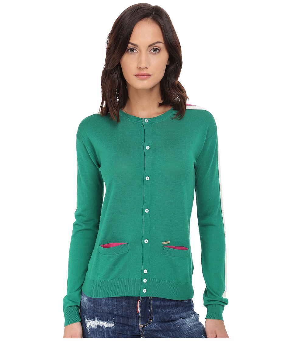 DSQUARED2 - Cardigan Sweater (Green/Off-White/Fuchsia) Women's Sweater