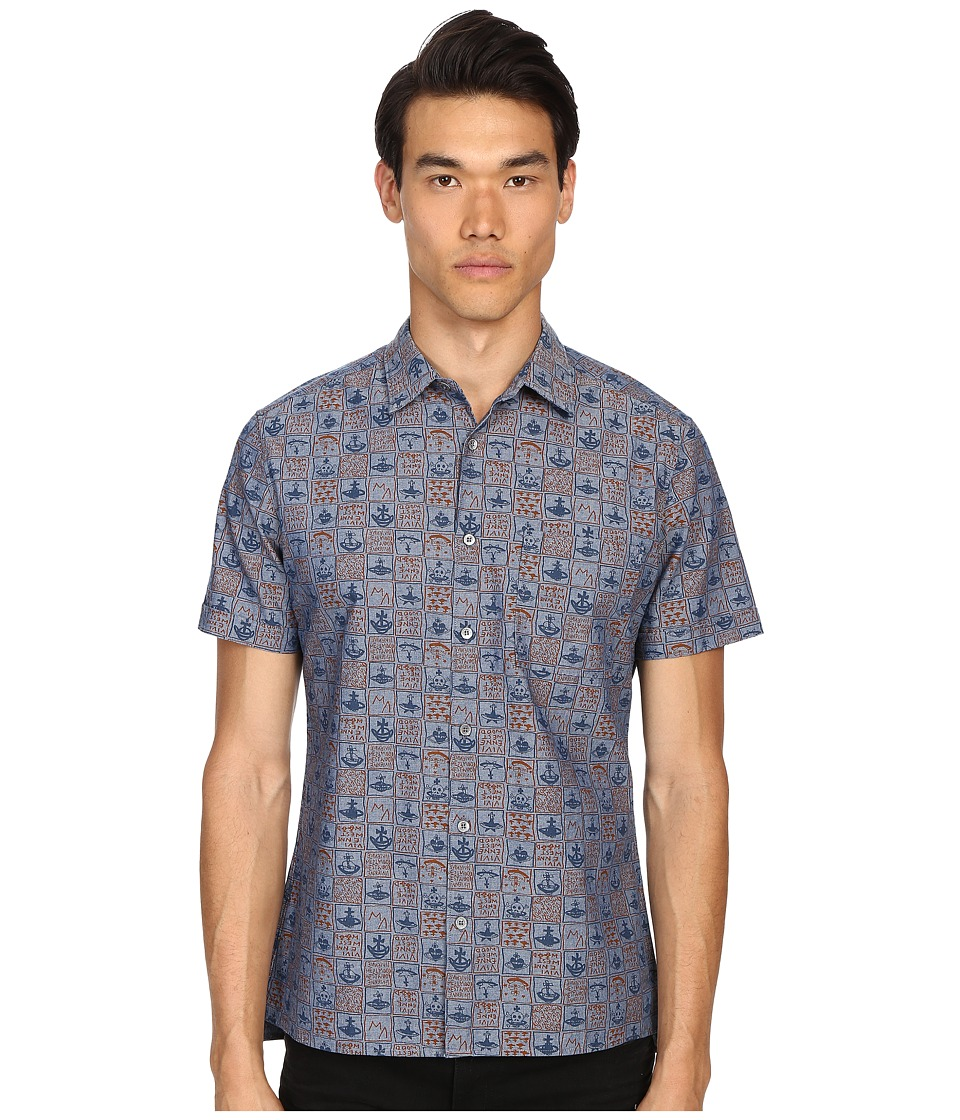 Vivienne Westwood - Anglomania Bob Shirt (Blue/Navy) Men's Short Sleeve Button Up