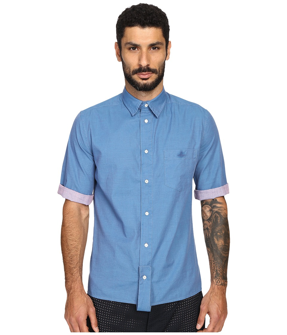 Vivienne Westwood - Anglomania Paul Shirt (Blue/Pink) Men's Short Sleeve Button Up