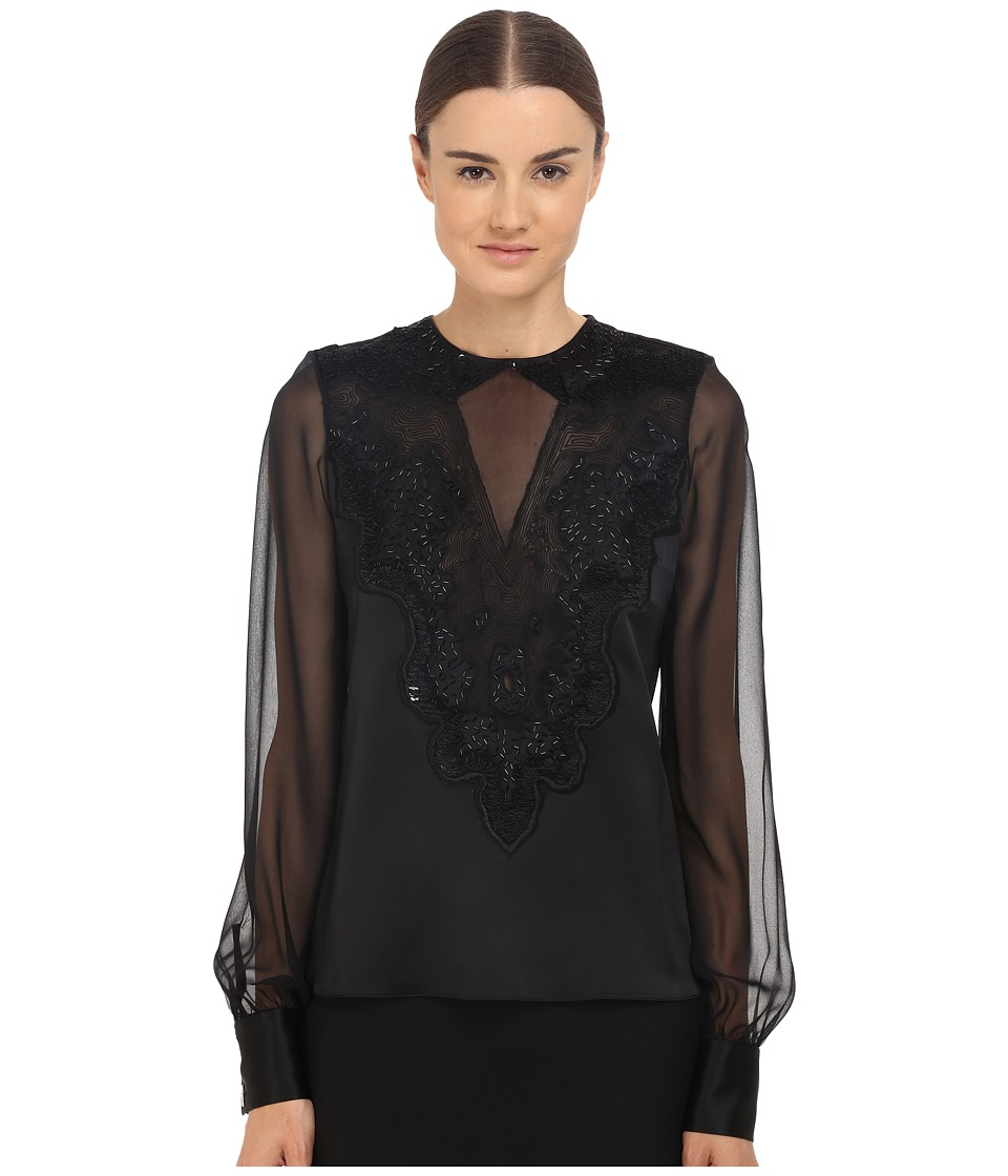 Prabal Gurung - Embroidered Sheer Blouse (Black) Women's Blouse