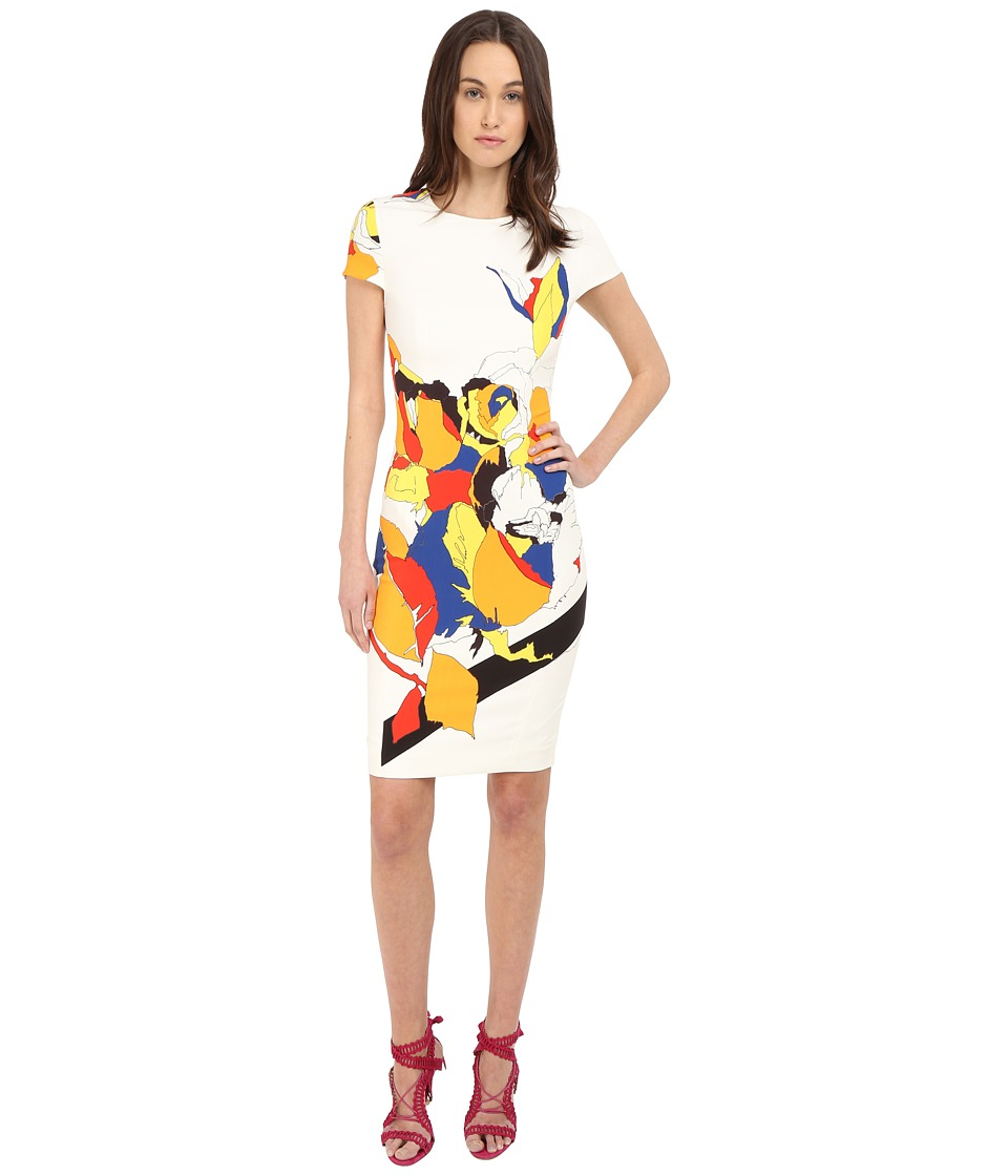 Prabal Gurung Multi Floral Lace Print Short Sleeve Dress