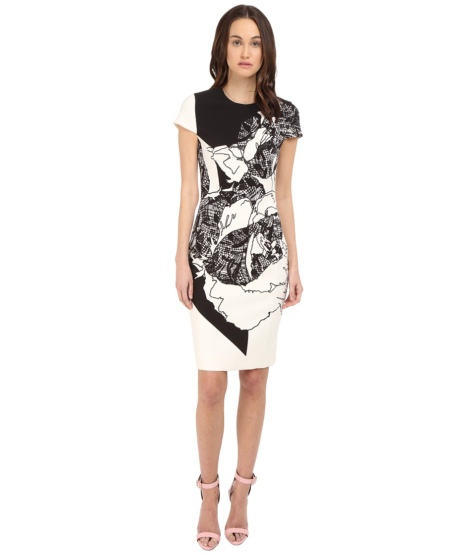 Prabal Gurung - Multi Floral Lace Print Short Sleeve Dress (Black/White Floral Lace Print) Women's Dress