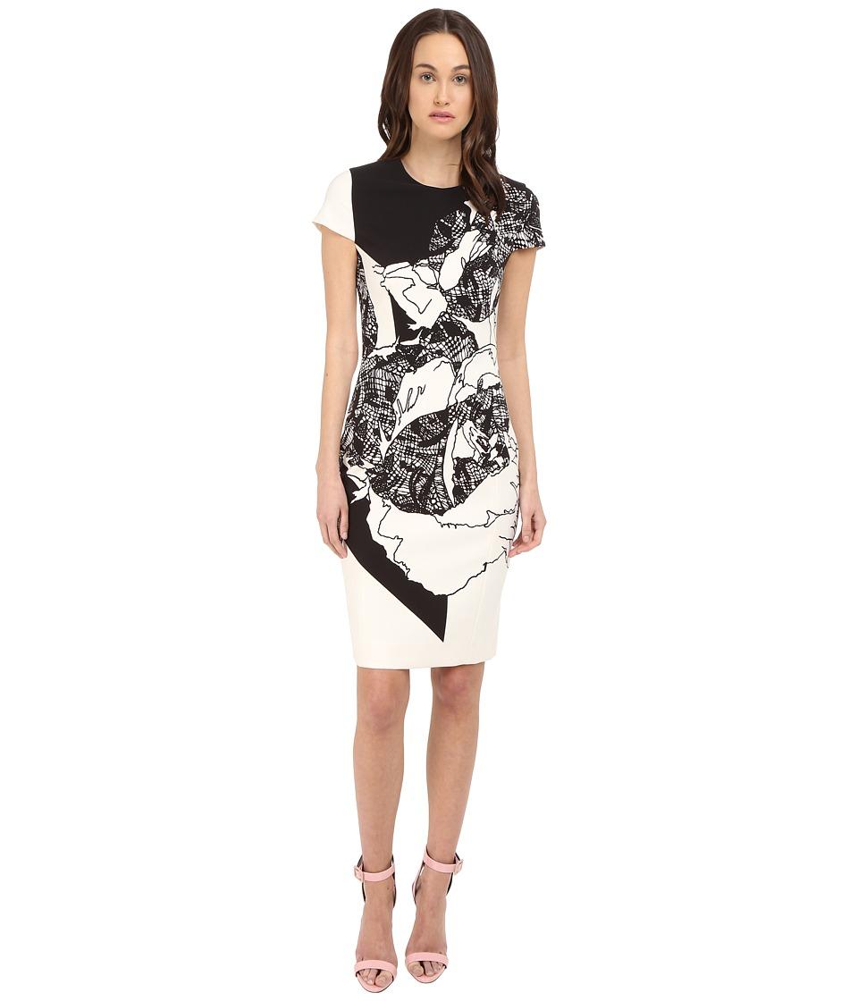 Prabal Gurung - Multi Floral Lace Print Short Sleeve Dress (Black/White Floral Lace Print) Women's Dress
