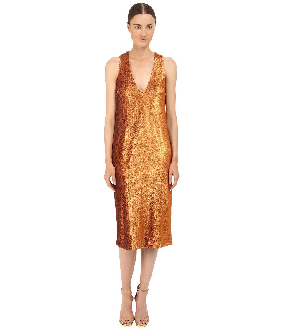Prabal Gurung Dusted Paillette Sleeveless Dress (Saffron) Women
