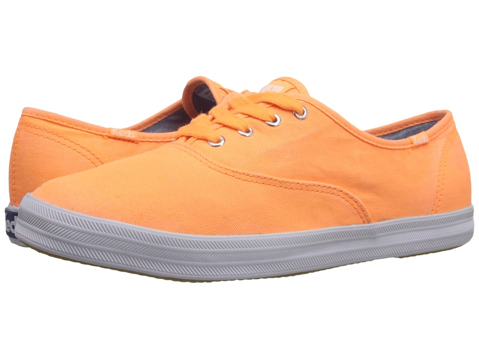 Keds - Champion Washed Twill (Neon Orange Washed Twill) Women's Lace up casual Shoes