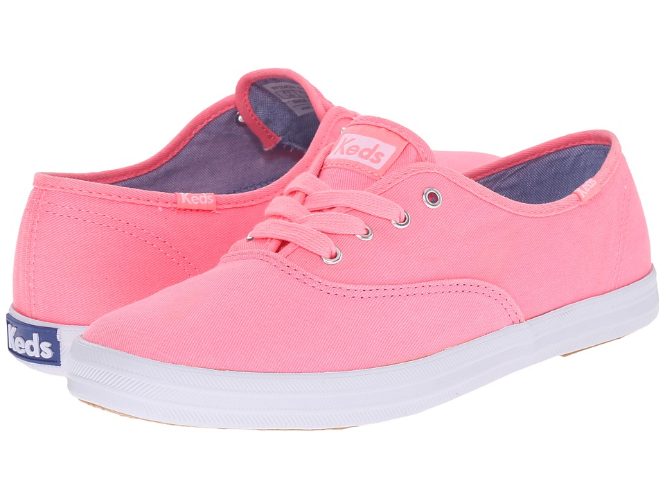 Keds Champion Washed Twill (Neon Pink Washed Twill) Women