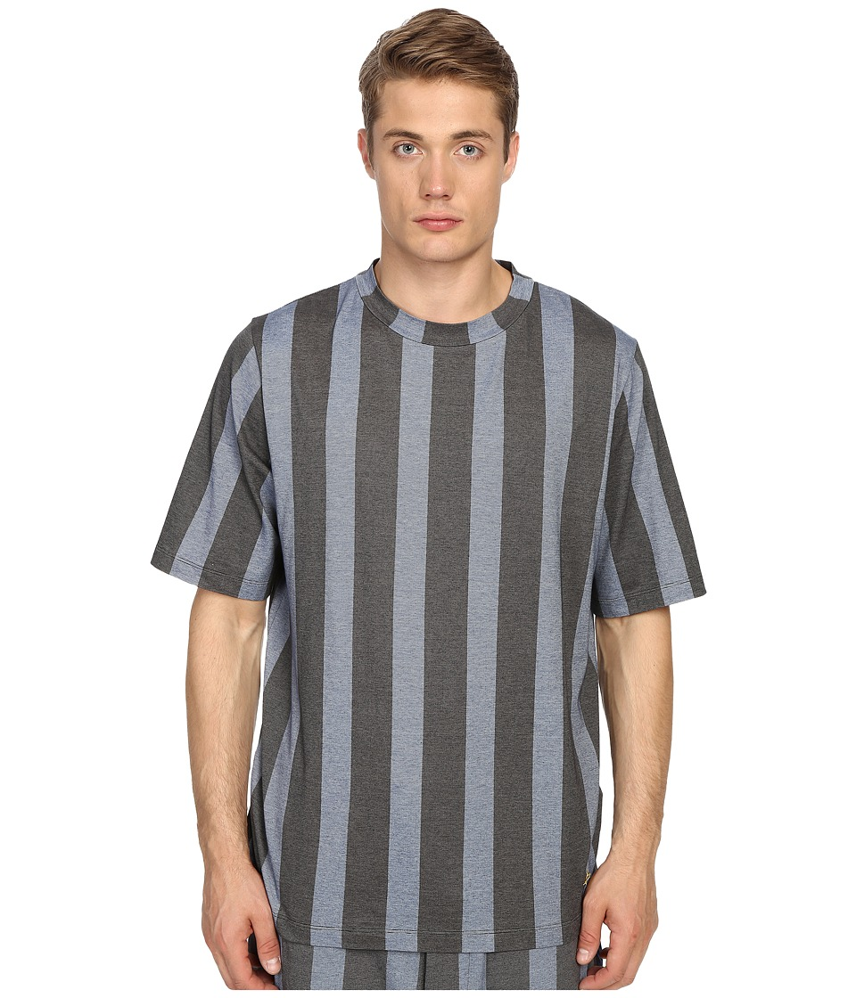 Vivienne Westwood - Printed Stripe Jersey Horatio T-Shirt (Blue Stripe) Men's Short Sleeve Pullover