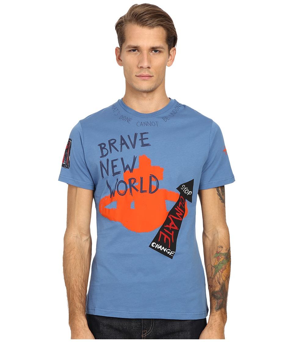 Vivienne Westwood - Sketched Orb T-Shirt (Blue/Green) Men's Short Sleeve Pullover