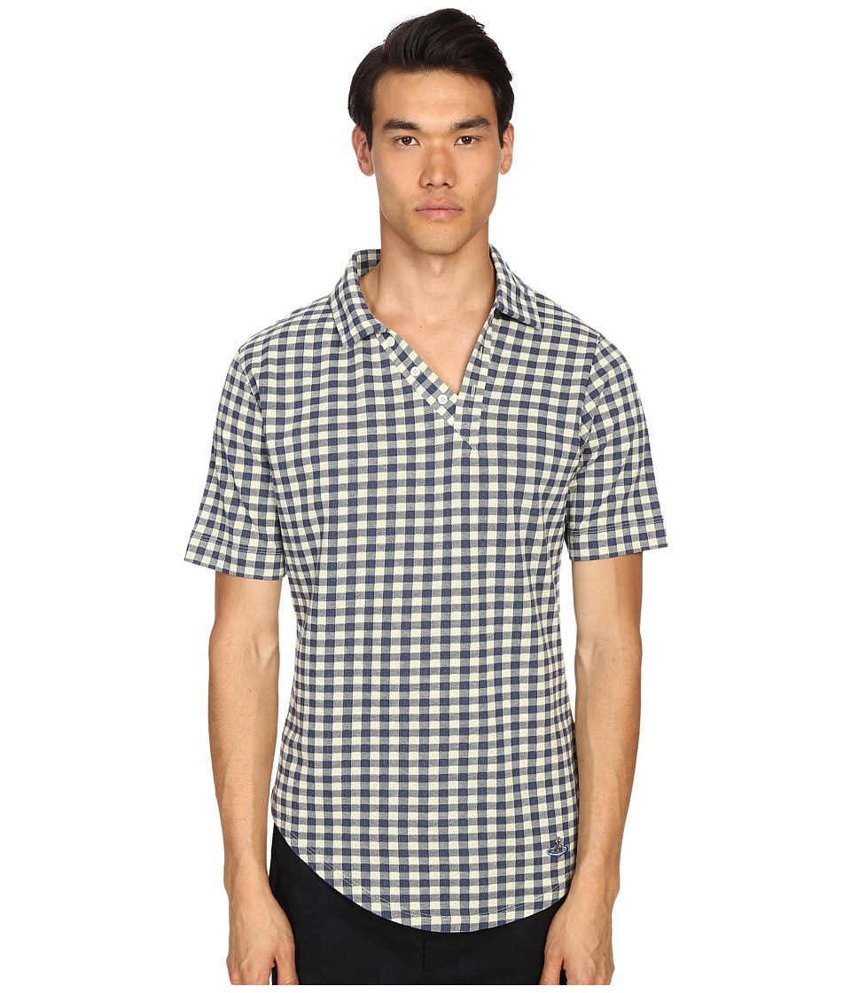 Vivienne Westwood - Sugar Pique Asymmetric Polo (Yellow Gingham) Men's Short Sleeve Knit