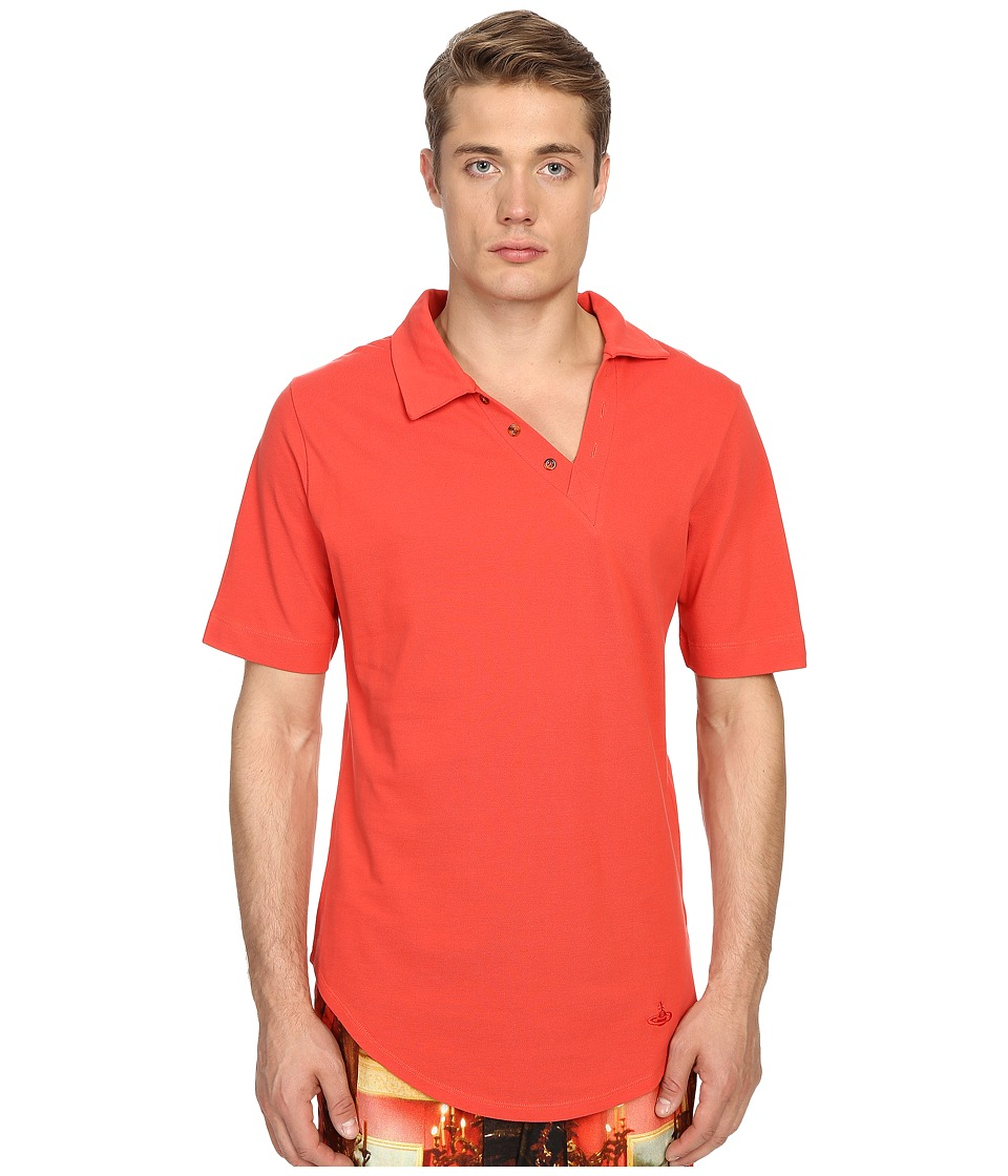 Vivienne Westwood - Basic Pique Asymmetric Polo (Red) Men's Short Sleeve Pullover