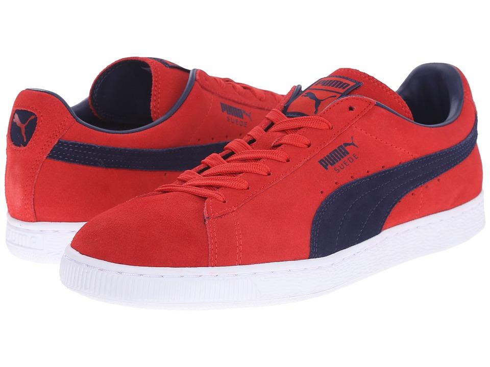 PUMA - Suede Classic + (Flame Scarlet/Peacoat) Men's Shoes