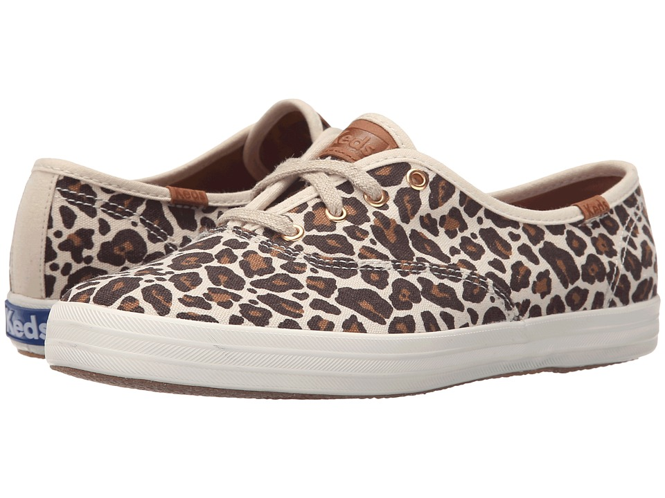 Keds - Champion Animal (Brown Leopard Linen) Women's Slip on Shoes