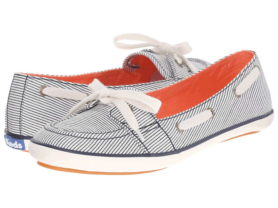 Keds - Teacup Boat Railroad Stripe (Navy Railroad Stripe) Women