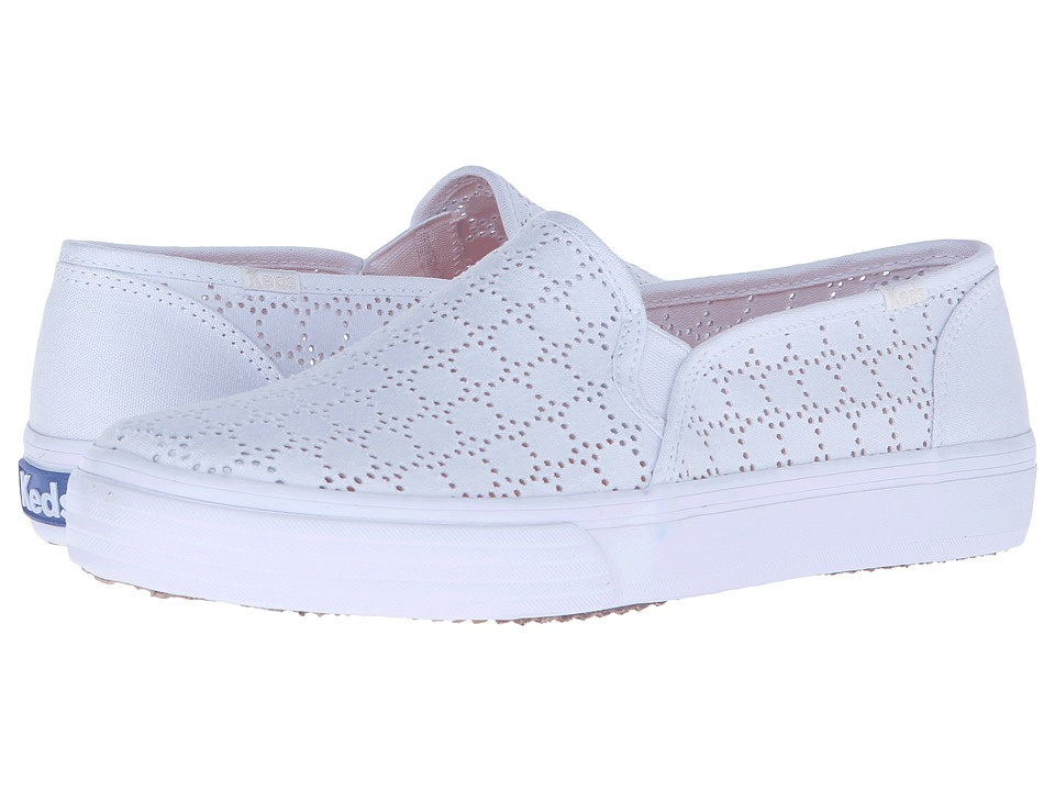 Keds - Double Decker Perf (White Canvas) Women's Slip on Shoes