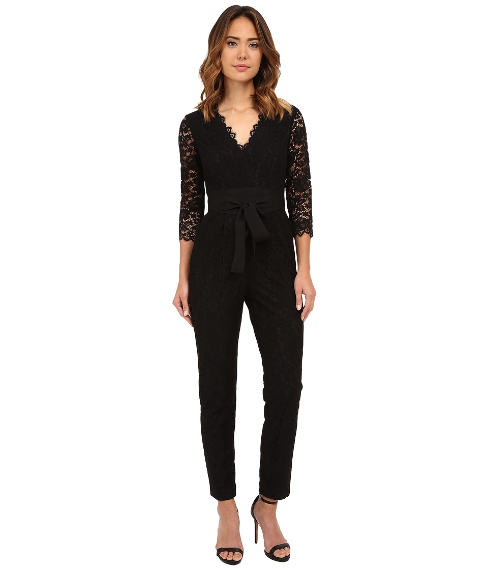Donna Morgan - 3/4 Sleeve Lace Jumpsuit (Black) Women's Jumpsuit & Rompers One Piece