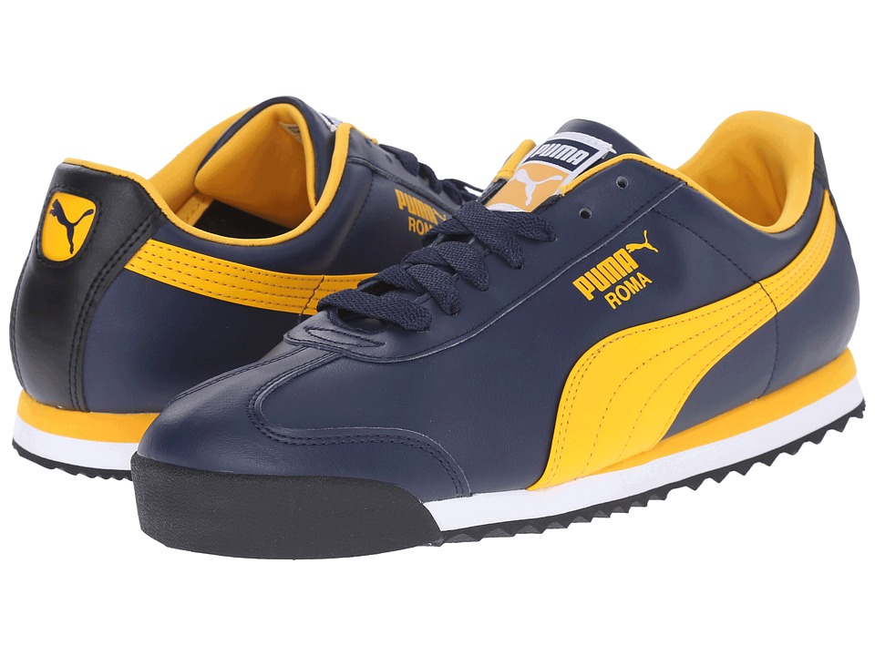 PUMA - Roma Basic (Peacoat/Gold Fusion/Black) Men's Shoes