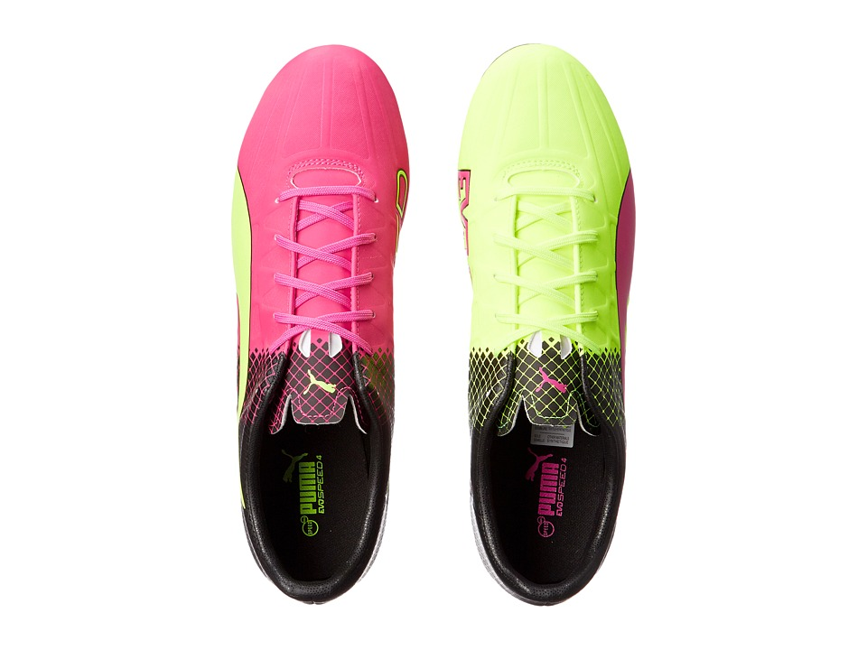 PUMA - Evospeed 4.5 Tricks FG (Pink Glo/Safety Yellow/Black) Men's Shoes