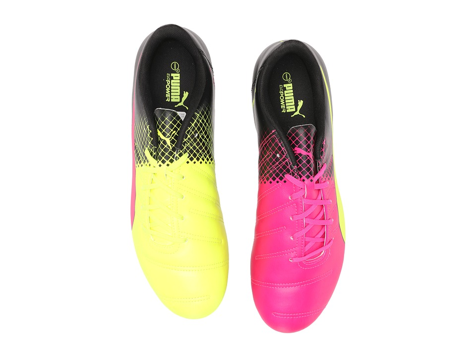 PUMA - Evopower 4.3 Tricks FG (Pink Glo/Safety Yellow/Black) Men