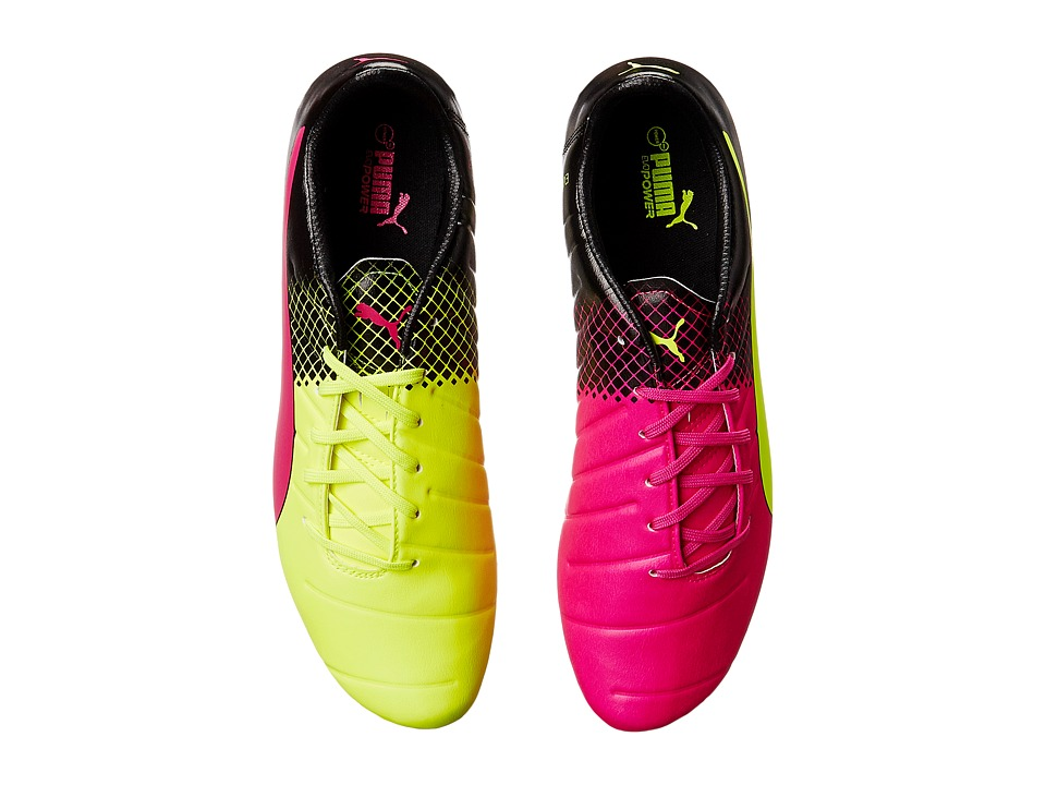 PUMA - Evopower 3.3 Tricks FG (Pink Glo/Safety Yellow/Black) Men's Shoes