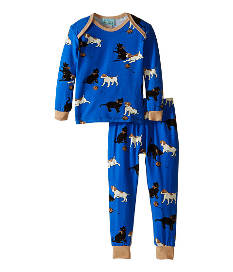 BedHead Kids - L/S Baby Tee Pant (Infant) (Blue Cats/Dogs) Boy's Pajama Sets