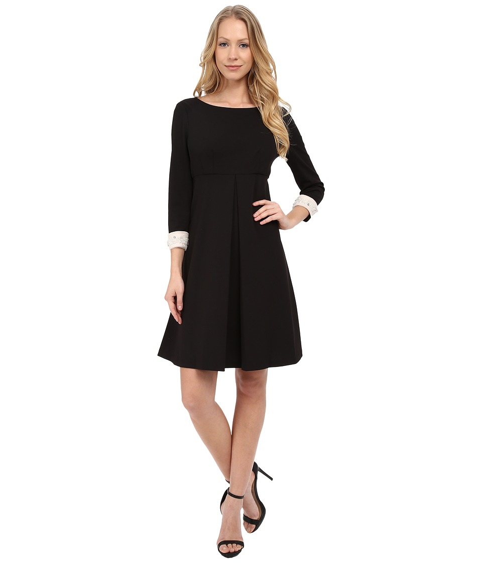 Donna Morgan - 3/4 Sleeve Crepe Shift with Jeweled Cuffs (Black) Women's Dress