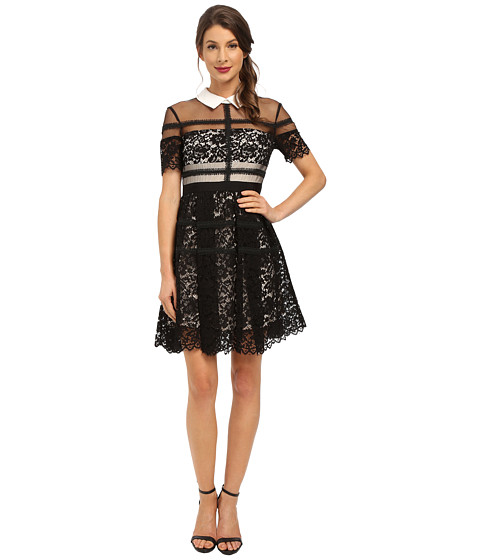 Donna Morgan - Short Sleeve Lace Shirt Dress with Collar (Black) Women's Dress