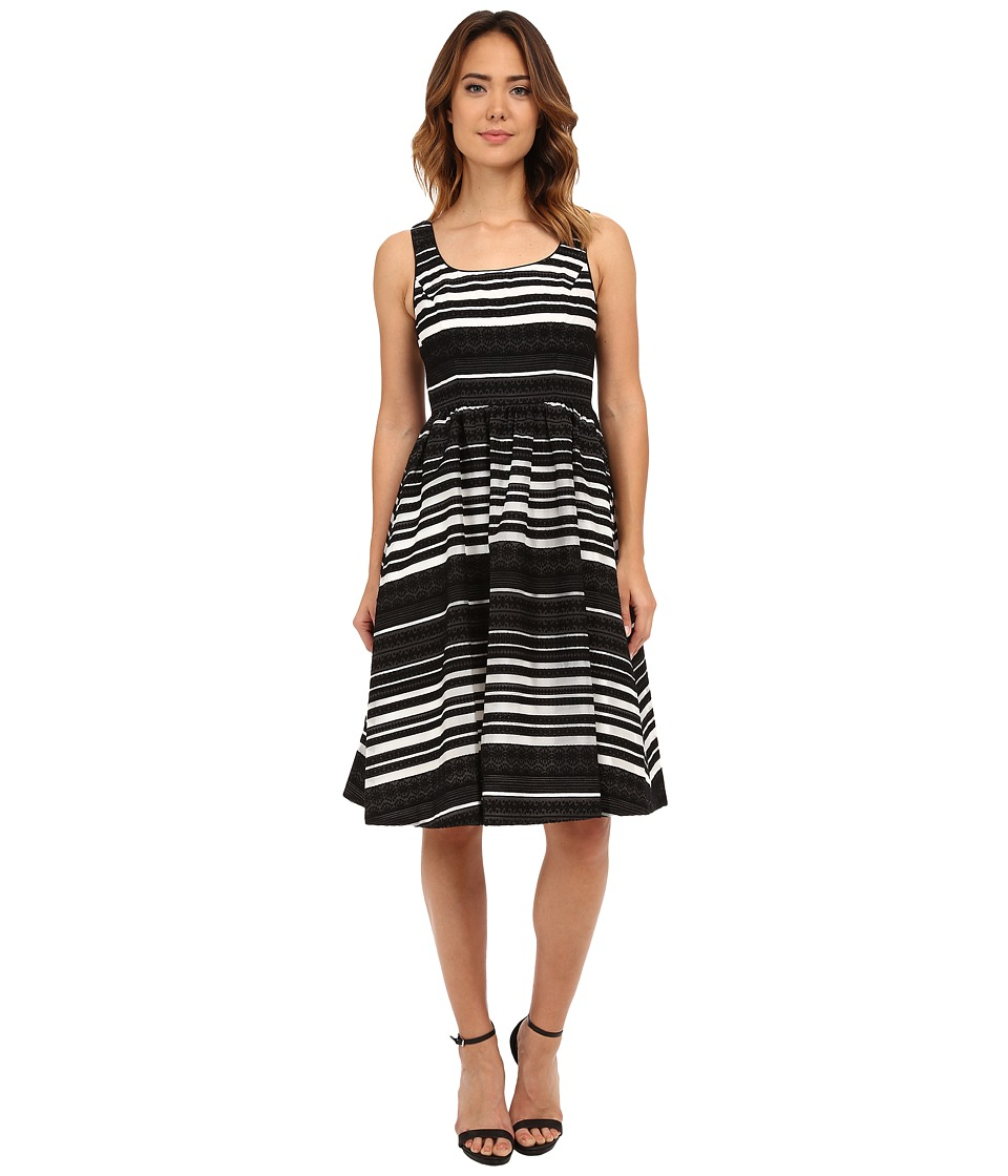 Donna Morgan - Embroidered Organza Midi Tank Dress (Black/White) Women's Dress