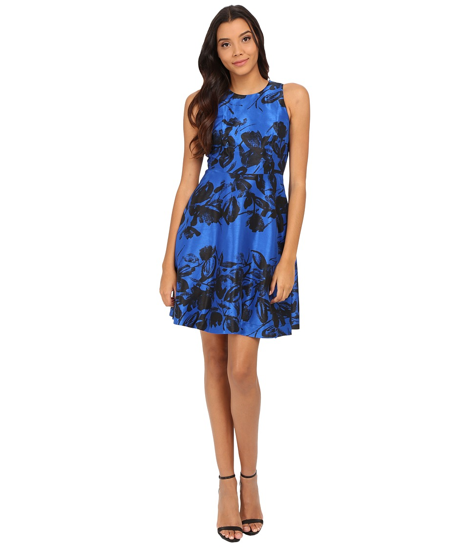 Donna Morgan Sleeveless Dupioni Fit and Flare Royal Blue-Black Dress