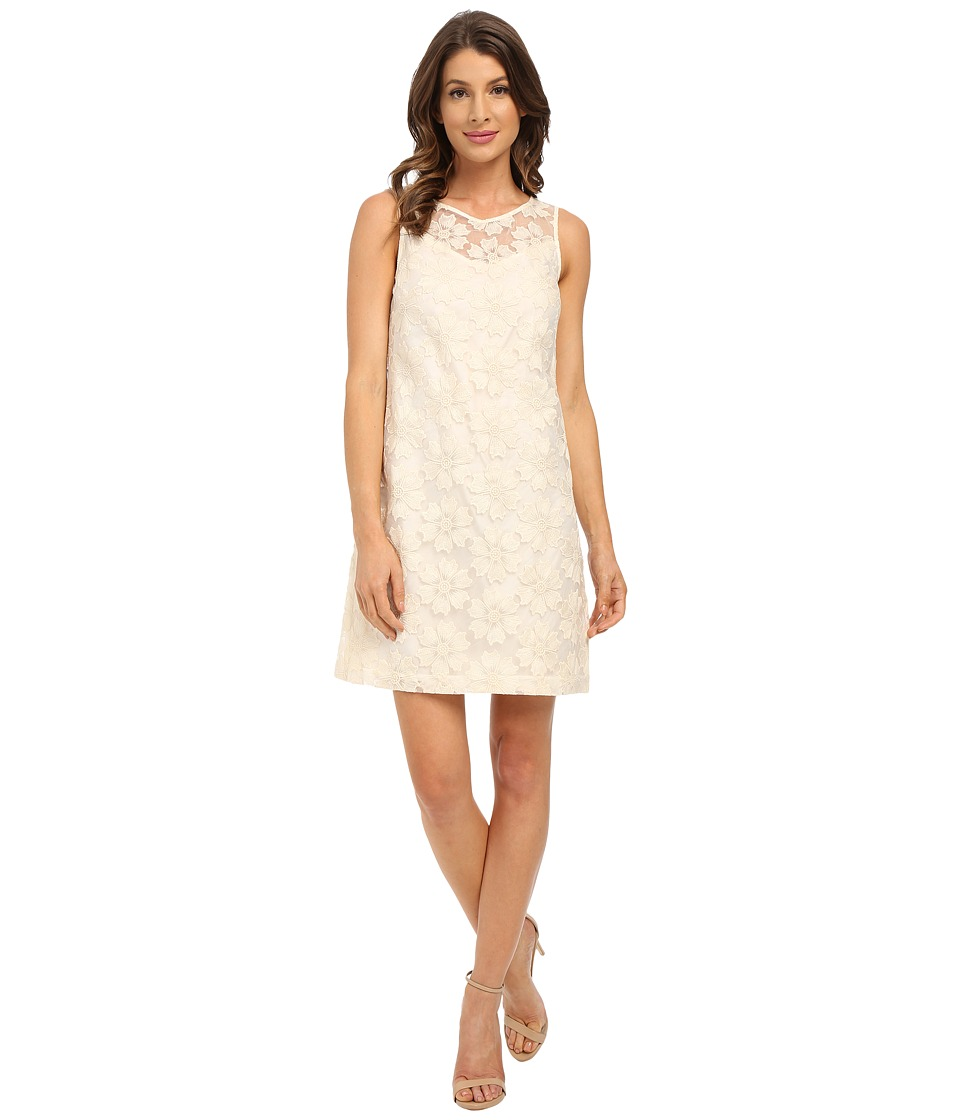 Donna Morgan Sleeveless Embroidered Organza Shift Beige Dress