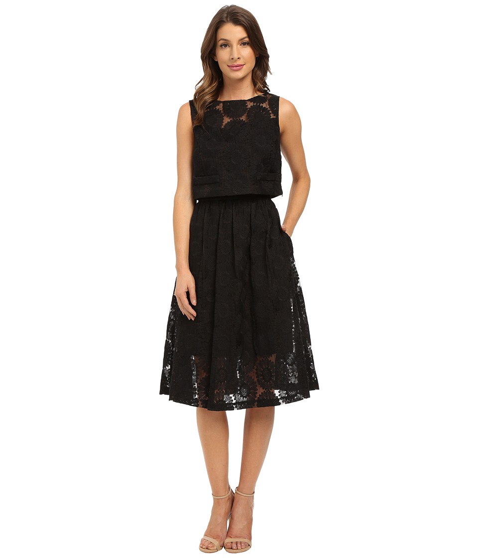 Donna Morgan - Sleeveless Two-Piece Embroidered Organze with Midi Skirt (Black) Women's Dress
