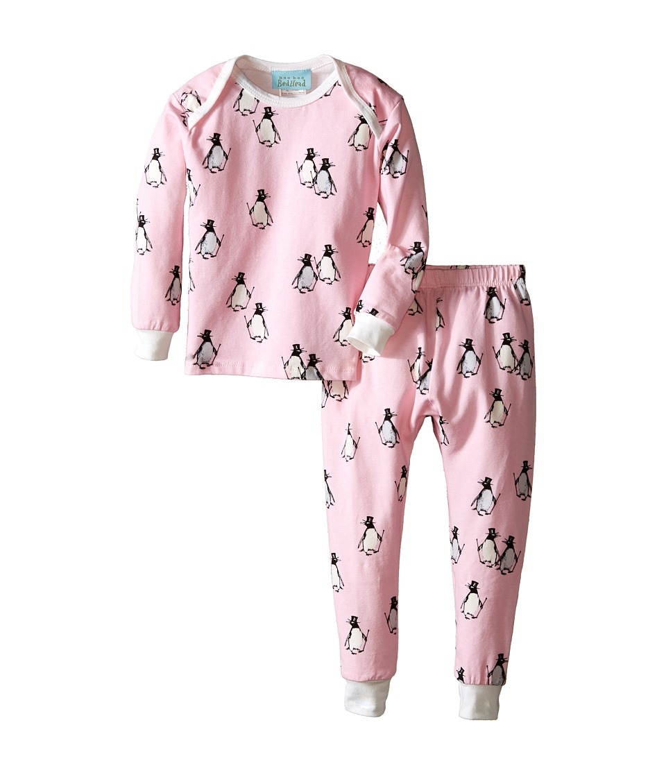 BedHead Kids - L/S Tee Pant (Infant) (Pink Penguins/Parade) Girl's Pajama Sets