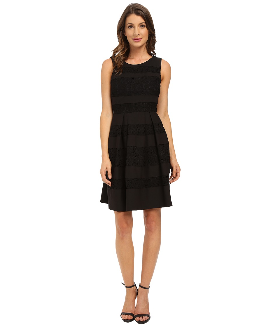 Donna Morgan Sleeveless Crepe and Lace Fit and Flare Black Dress
