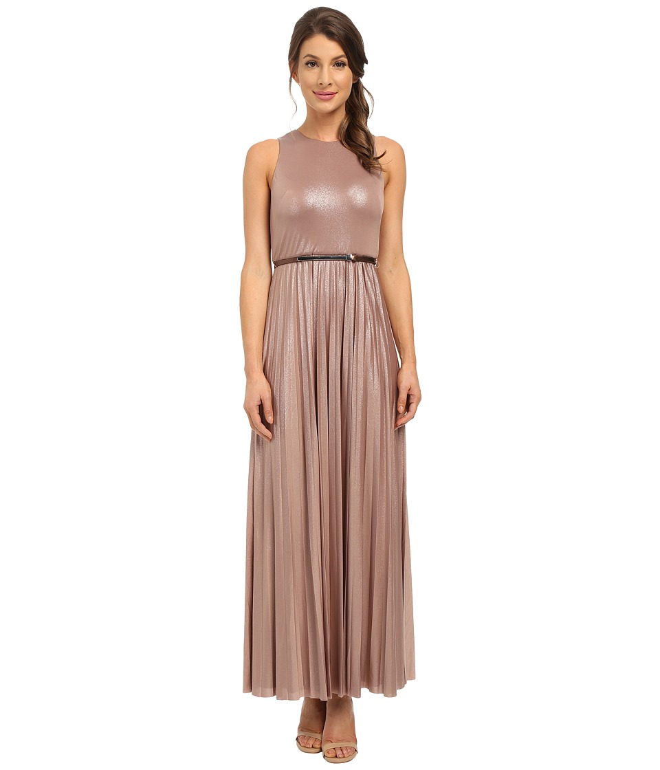 Donna Morgan - Sleeveless Pleated Gown w/ Belt (Pearl) Women's Dress