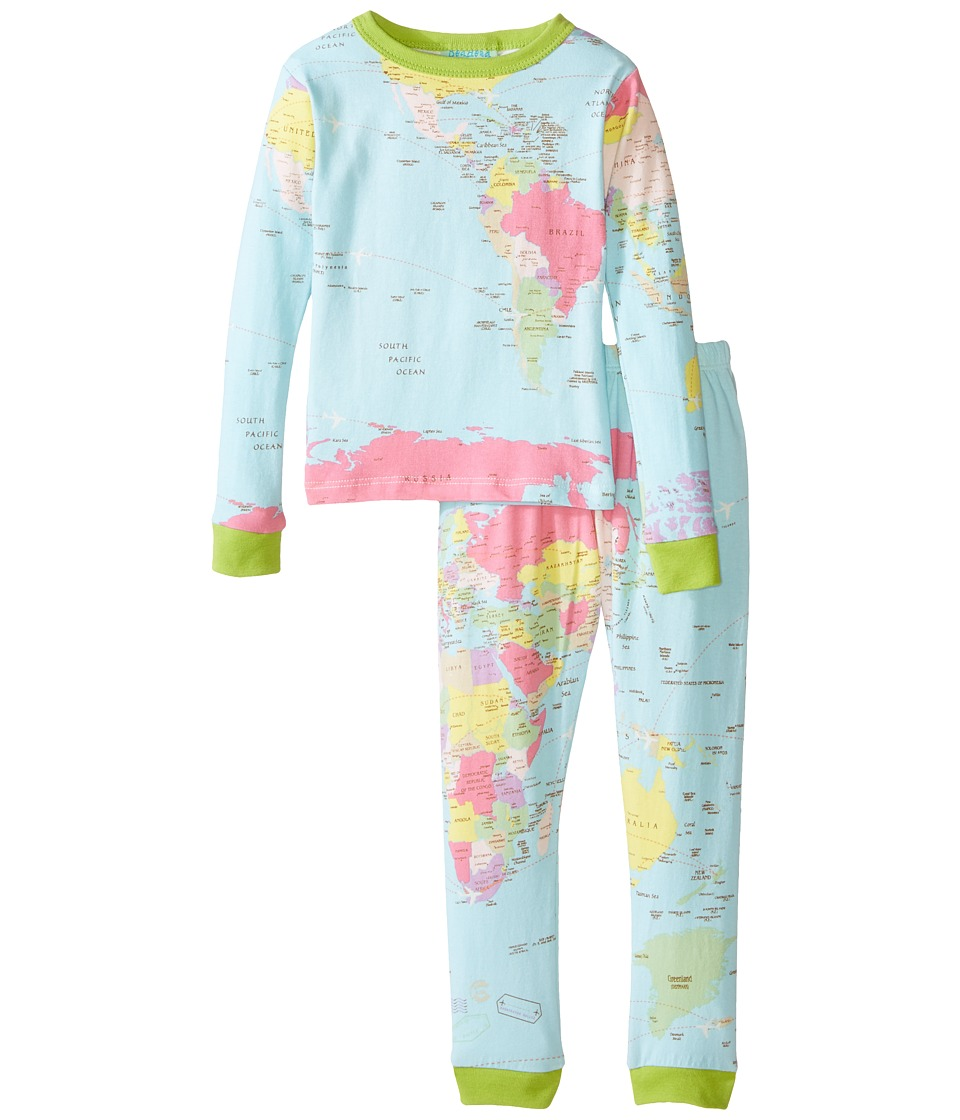 BedHead Kids - Stretch L/S Kids PJ (Toddler/Little Kids) (Aqua Around The World) Kid's Pajama Sets