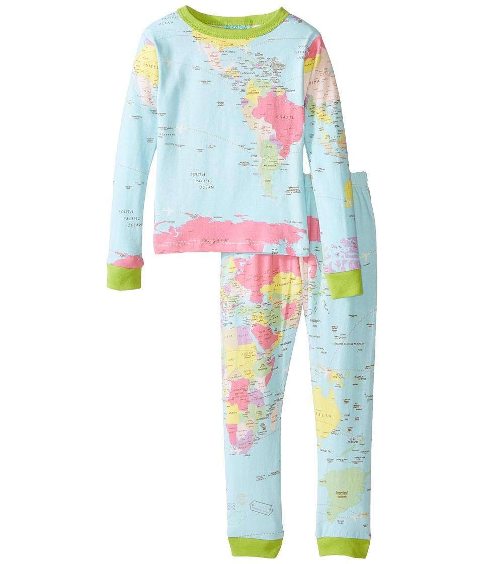 BedHead Kids - Stretch L/S Kids PJ (Toddler/Little Kids) (Aqua Around The World) Kid's Pajama Sets