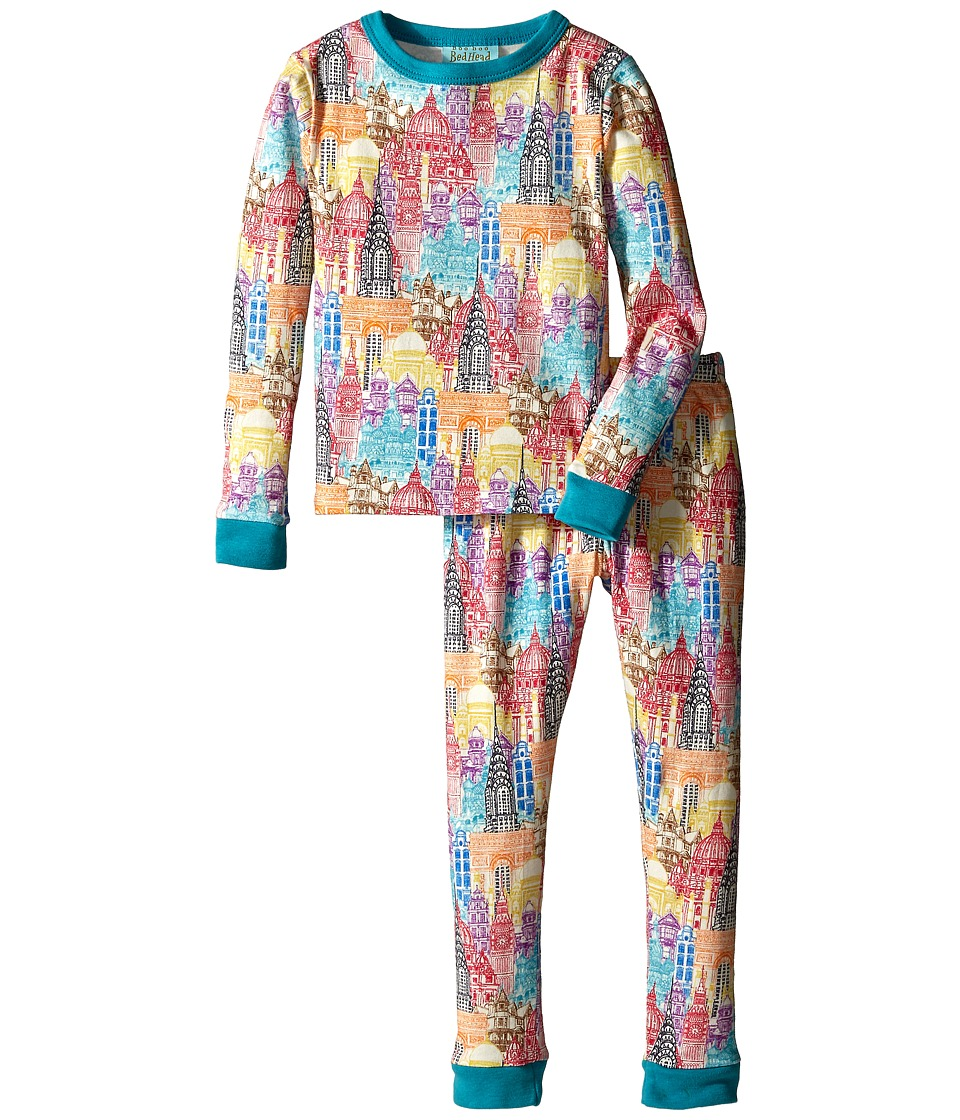 BedHead Kids - Stretch L/S Kids PJ (Toddler/Little Kids) (Multi Wonders of the World) Kid's Pajama Sets