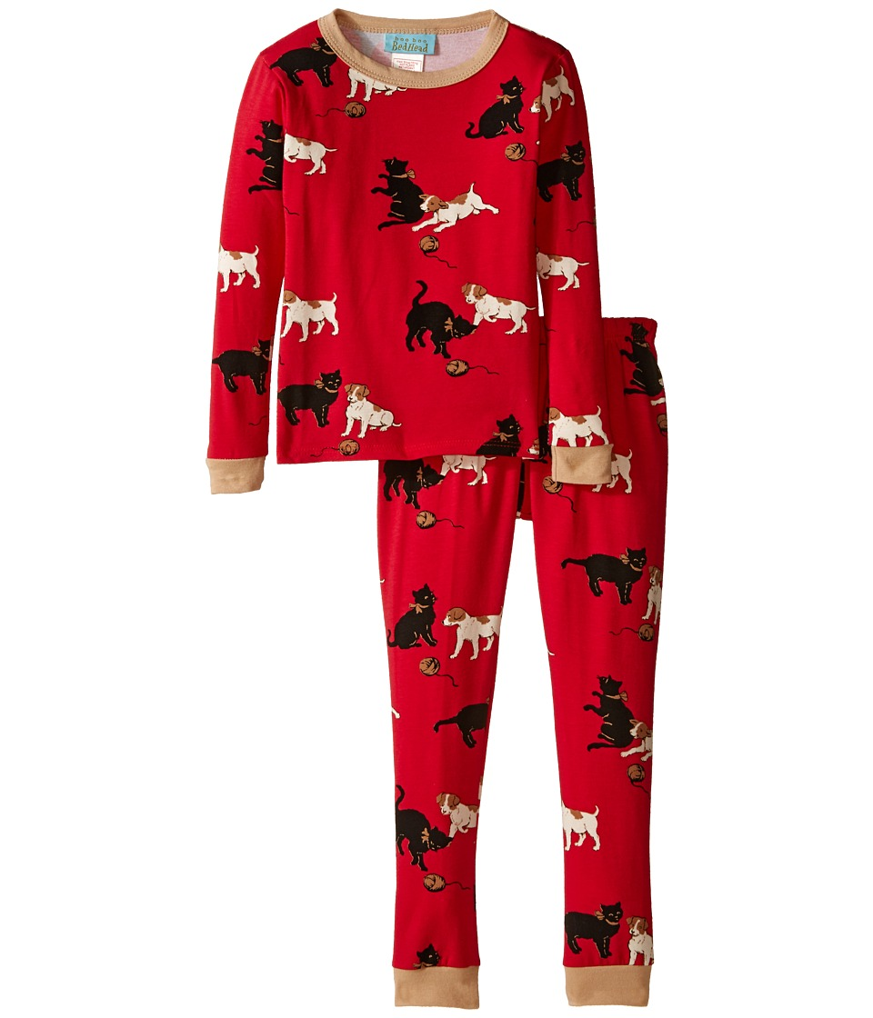 BedHead Kids - Stretch L/S Kids PJ (Toddler/Little Kids) (Red Cats/Dogs) Kid's Pajama Sets