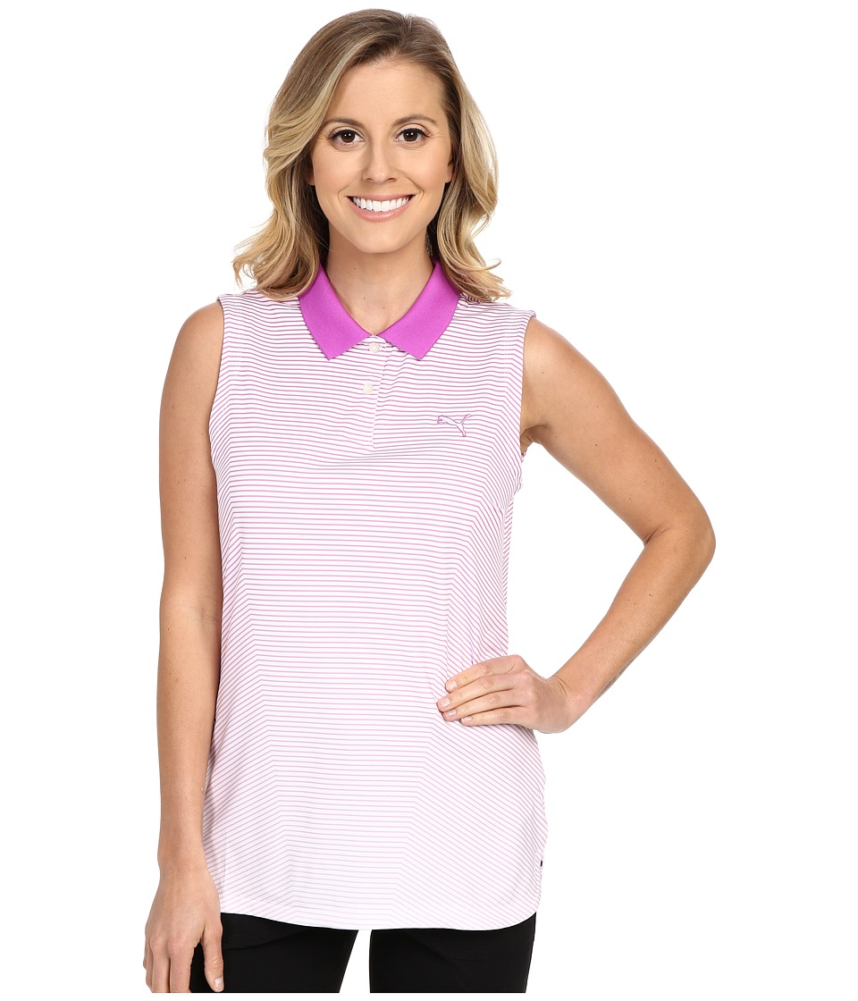 PUMA Golf - 3D Stripe Sleeveless Polo (Purple Cactus Flower) Women's Sleeveless