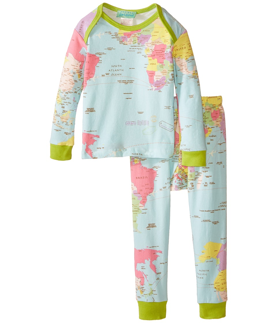BedHead Kids - Long Sleeve Baby Tee Pant Set (Infant) (Aqua Around The World) Kid's Pajama Sets