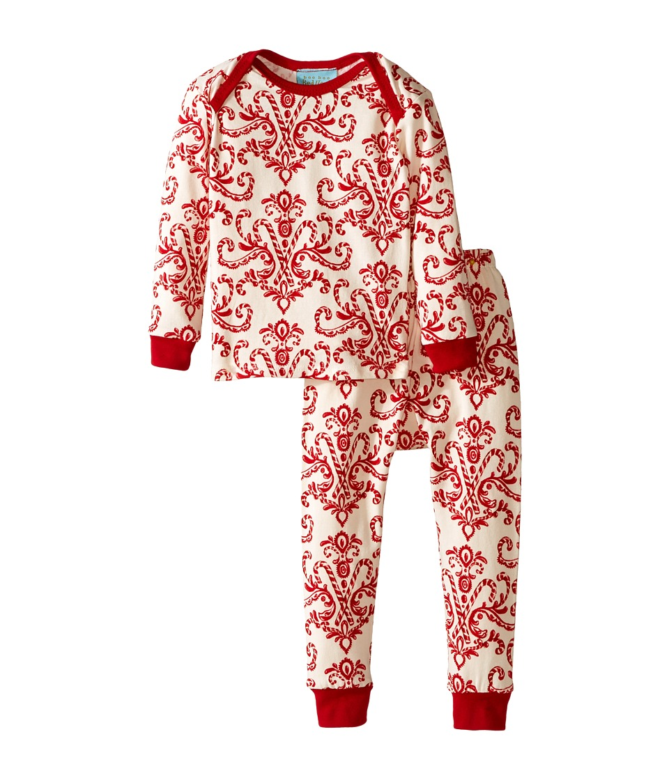 Image of BedHead Kids - Long Sleeve Baby Tee Pant Set (Infant) (Candy Canes) Kid's Pajama Sets