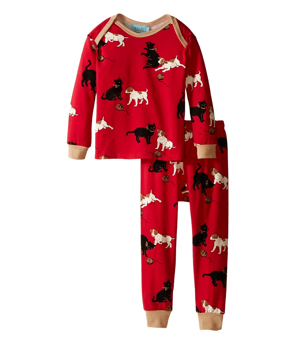 BedHead Kids - Long Sleeve Baby Tee Pant Set (Infant) (Red Cats/Dogs) Kid's Pajama Sets