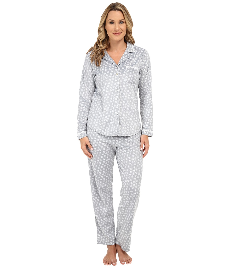 Eileen West - Microfleece PJ Set (Grey Print) Women