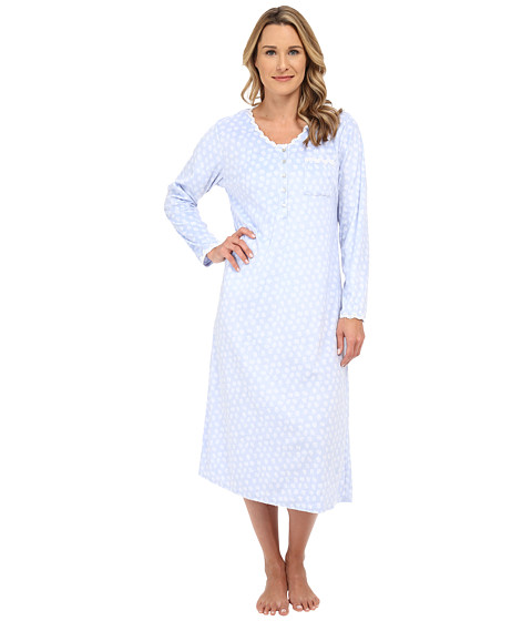 Eileen West - Microfleece Gown (Blue/White Print) Women's Pajama