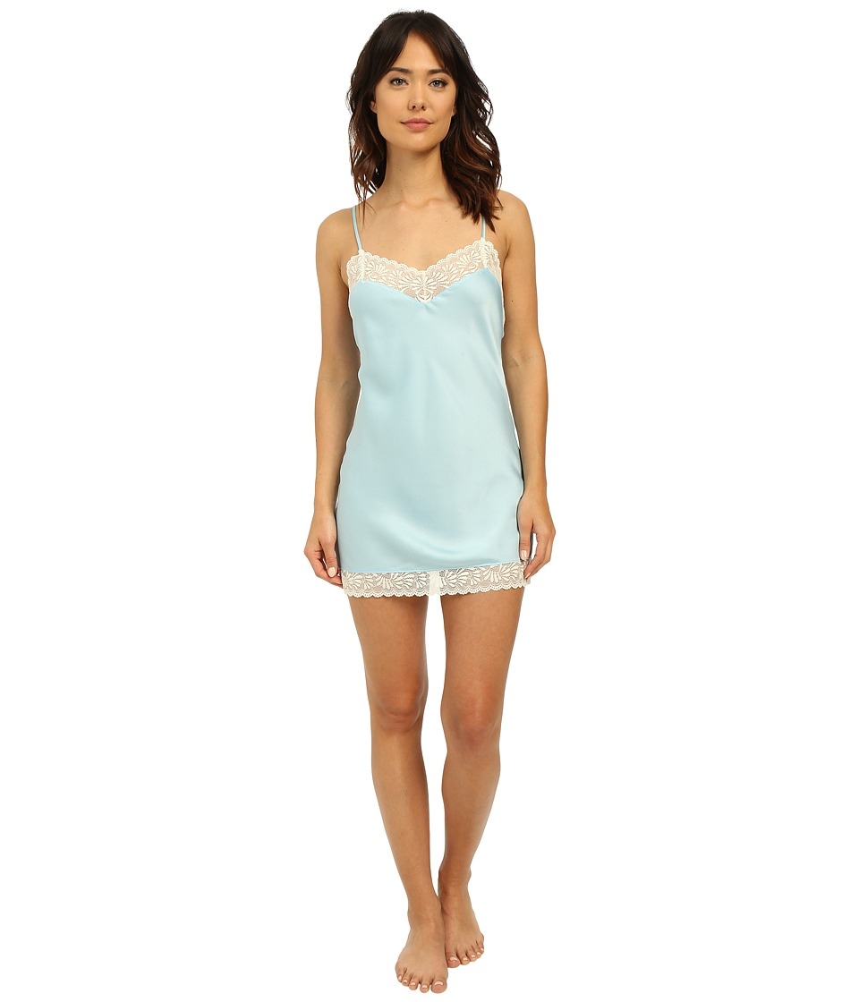 Josie - Coquette Chemise (Heather Sky/Warm White Lace) Women's Pajama
