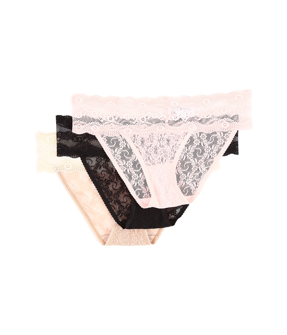 b.tempt'd - Lace Kiss Bikini 3-Pack (Crystal Rose/Night/Naughty Naked) Women's Underwear