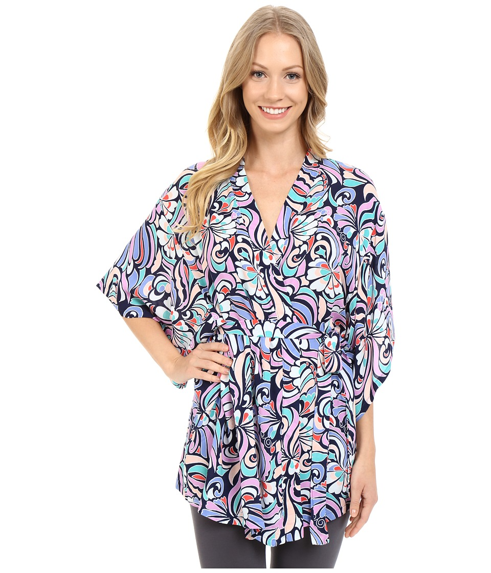 Josie - Groovy Ribbons Wrap (Navy) Women's Pajama