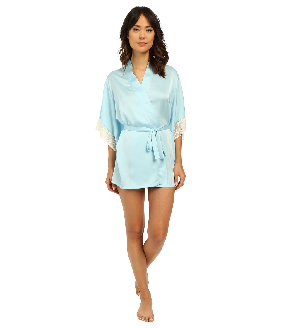 Josie - Coquette Wrap (Heather Sky/Warm White Lace) Women's Pajama