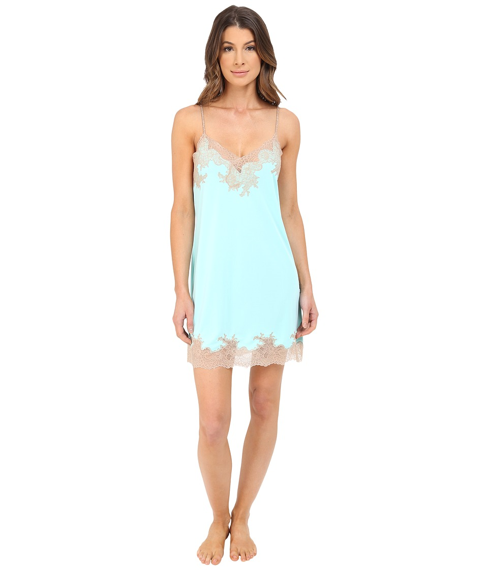 Natori - Enchant Lace Trim Chemise (Seafoam/Cafe Lace) Women's Pajama