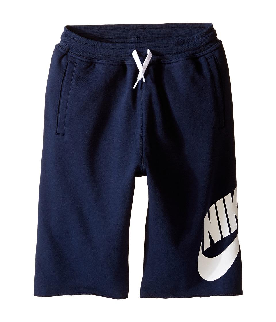 Nike Kids - French Terry Alumni Short (Little Kids/Big Kids) (Obsidian) Boy's Shorts