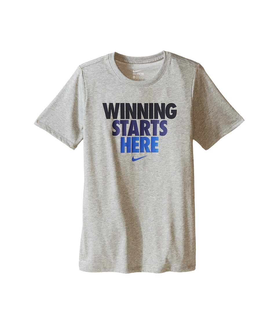 Nike Kids - Winning Starts Tee (Little Kids/Big Kids) (Dark Grey Heather) Boy's T Shirt